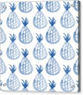 White And Blue Pineapple Party Acrylic Print