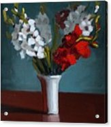 White And Red Gladioli Acrylic Print