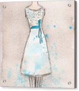 White And Teal Dress Acrylic Print