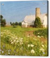 White Barn In Michigan Acrylic Print