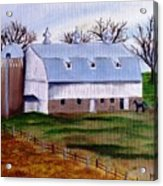 White Barn On A Cloudy Day Acrylic Print
