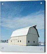 White Barn With Snow Acrylic Print
