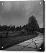 White Bench Horizontal Bw Acrylic Print