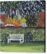 White Bench In Colorful Garden Acrylic Print