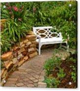 White Bench In The Garden Acrylic Print