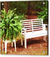 White Bench Sitting In A Beautiful Garden 2 Acrylic Print