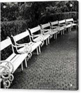 White Benches-  By Linda Wood Woods Acrylic Print