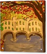 White Bridge In The Woods Acrylic Print by Marie Bulger