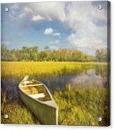 White Canoe Textured Painting Acrylic Print