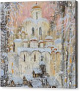 White Cathedral Under Snow Acrylic Print