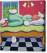 White Cats - Cat Napping Acrylic Print