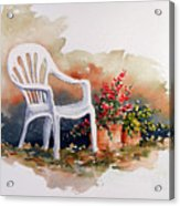 White Chair With Flower Pots Acrylic Print