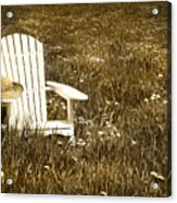 White Chair With Straw Hat In A Field Acrylic Print