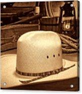 White Cowboy Hat In A Barn Acrylic Print