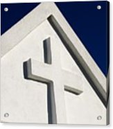 White Cross Blue Sky Acrylic Print