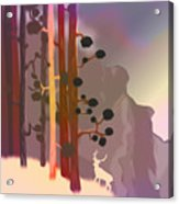 White Deer Climbing Mountains - Abstract And Colorful Forest Acrylic Print
