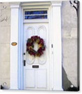 White Door In Charleston Sc Acrylic Print by Susanne Van Hulst
