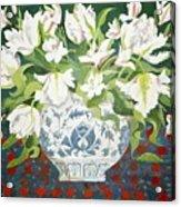 White Double Tulips And Alstroemerias Acrylic Print