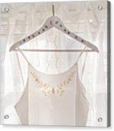White Dress On Clothes Hanger Acrylic Print