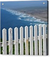 White Fence And Waves Acrylic Print