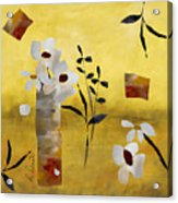 White Floral Collage Acrylic Print