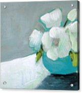 White Flowers In Blue Vase Acrylic Print