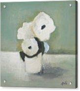 White Flowers In Vase Acrylic Print