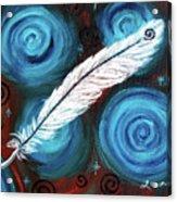 White Hawk Feather Acrylic Print
