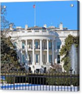 White House South Lawn With Snow Acrylic Print