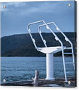 White Ladder Of A Diving Board At The Beach In Cres Acrylic Print