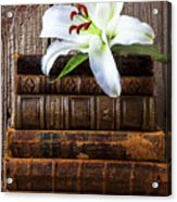 White Lily On Antique Books Acrylic Print