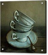White Ornamented Teacups Acrylic Print
