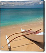 White Outrigger Canoe Acrylic Print