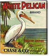 White Pelican Fruit Crate Label C. 1920 Acrylic Print