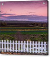 White Picket Fence Looking Over Farmland  Acrylic Print