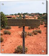 White Rim Overlook Trail Signpost Acrylic Print