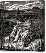 White River Falls Black  And White Acrylic Print