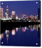 White River Reflects Indy Skyline Acrylic Print