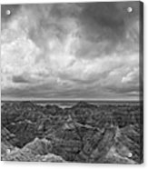 White River Valley Overlook Panorama 2 Bw Acrylic Print
