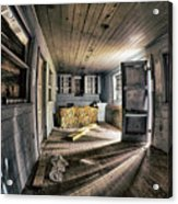 White Room, Yellow Couch, Real Estate Series Acrylic Print