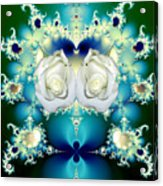 White Roses  And Blue Satin Bouquet Fractal Abstract Acrylic Print