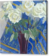 White Roses With Red And Blue Acrylic Print
