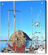 White Sail Boat Morro Rock  Acrylic Print