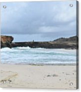 White Sand Beach And Large Rock Formations In Aruba Acrylic Print