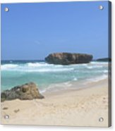White Sand Beaches, Waves And A Rock Formation In Aruba Acrylic Print