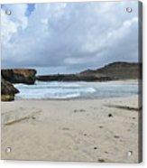 White Sandy Deserted Beach On The East Coast Of Aruba Acrylic Print