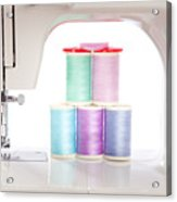 White Sewing Machine And Colorful Threads Acrylic Print