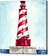 White Shoal Lighthouse Michigan Nautical Light House Red And White Candycane Stripes Acrylic Print