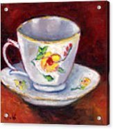 White Tea Cup With Yellow Flowers Grace Venditti Montreal Art Acrylic Print