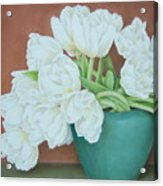White Tulilps In Blue Vase Acrylic Print